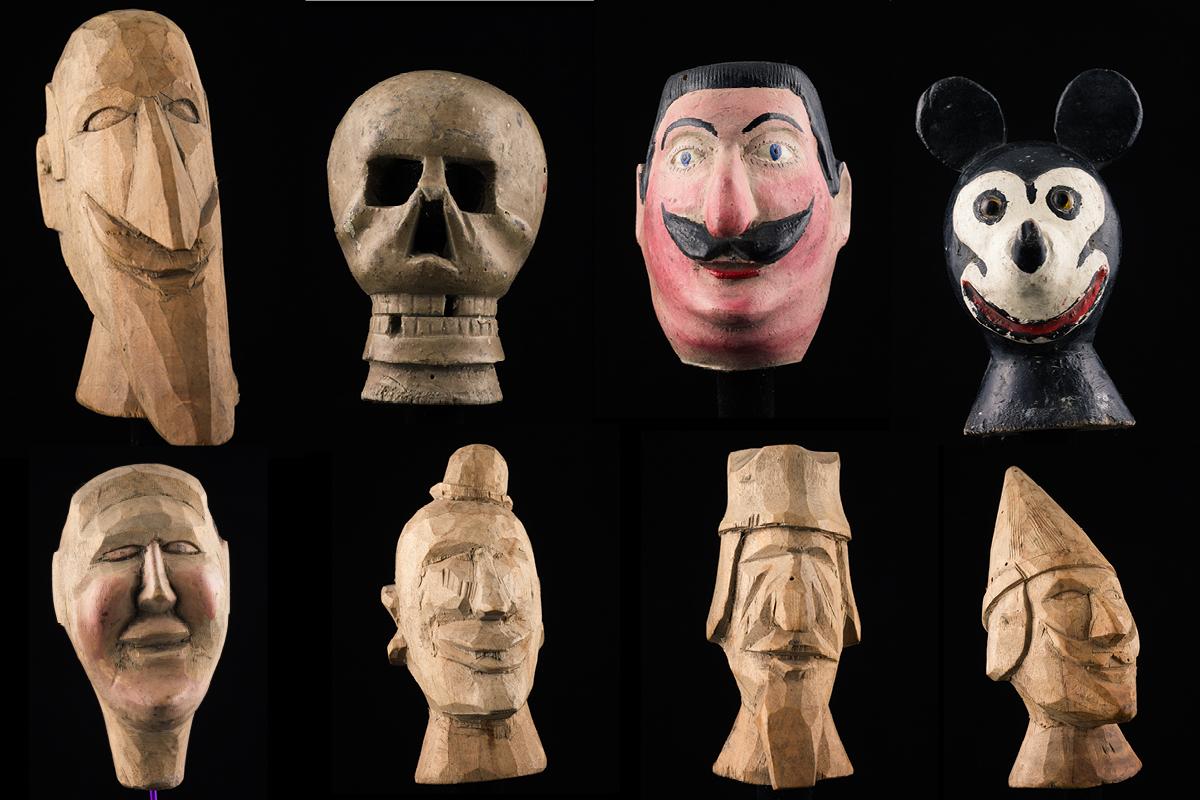 Têtes de marionnettes montoises Bétième Montois de Messines 20ème siècle ©MaisondelaMarionnette